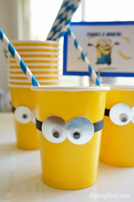 DIY Minion Party Cups from DIY Inspired | Featured on Minions Party Roundup {OneCreativeMommy.com} So many great ideas!