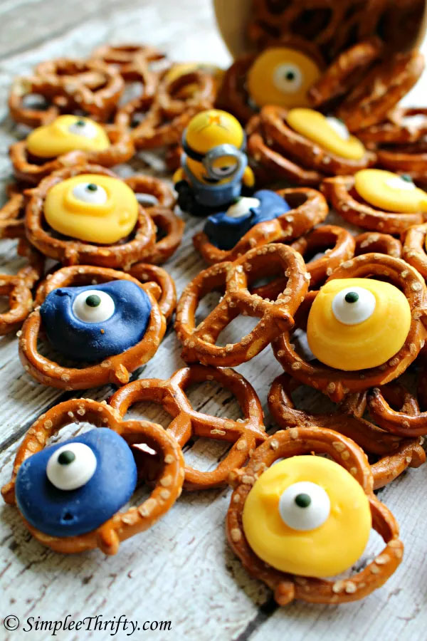Minion Pretzels from Simplee Thrifty | Featured on Minions Party Roundup {OneCreativeMommy.com} So many great ideas!