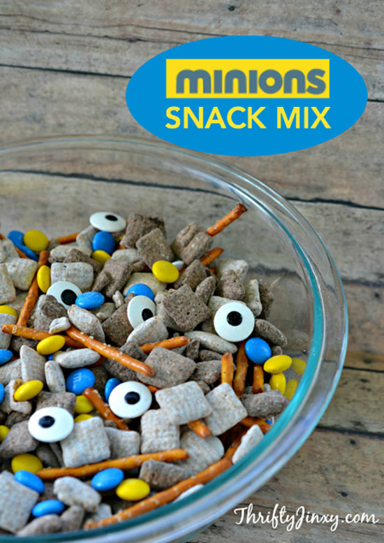 Minions Snack Mix from Thrifty Jinxy | Featured on Minions Party Roundup {OneCreativeMommy.com} So many great ideas!