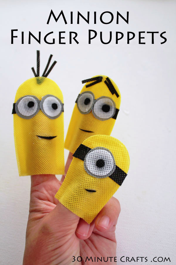 These Minion Finger Puppets from 30 Minute Crafts are so cute, and they are no sew! | Featured on Minions Party Roundup {OneCreativeMommy.com} So many great ideas!