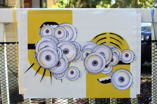Pin the Eye on the Minion Game from The Crafty Crazy | Featured on Minions Party Roundup {OneCreativeMommy.com} So many great ideas!