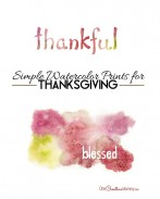 Simple Watercolor Thanksgiving Prints to accent any Fall decor! {OneCreativeMommy.com}