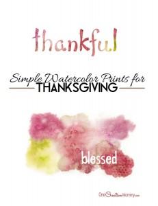 Simple Watercolor Thanksgiving Printables