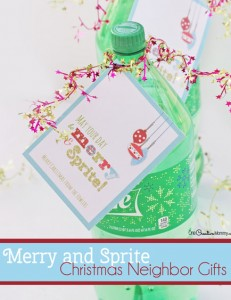 Free printable for super quick and cute Christmas neighbor gifts! {OneCreativeMommy.com} May your day be merry and Sprite!