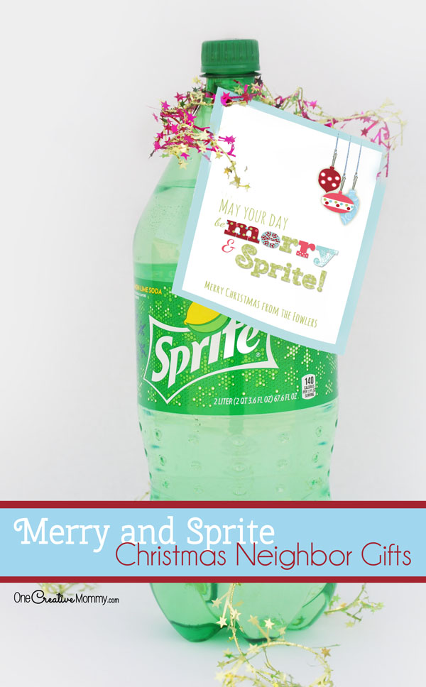 Quick and Easy Christmas Neighbor Gift Idea: May Your Day Be Merry and Sprite! {OneCreativeMommy.com}