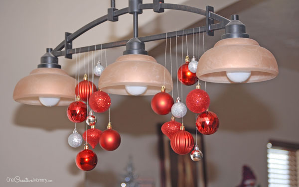 Awesome Turn an ordinary light fixture into a beautiful Christmas chandelier in just a few minutes