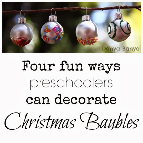 Christmas Baubles Preschool Craft |Featured with 33+ Handmade Christmas Ornaments to Make with Your Kids! {OneCreativeMommy.com}
