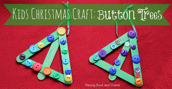 Cute Button Trees Kids Craft |Featured with 33+ Handmade Christmas Ornaments to Make with Your Kids! {OneCreativeMommy.com}