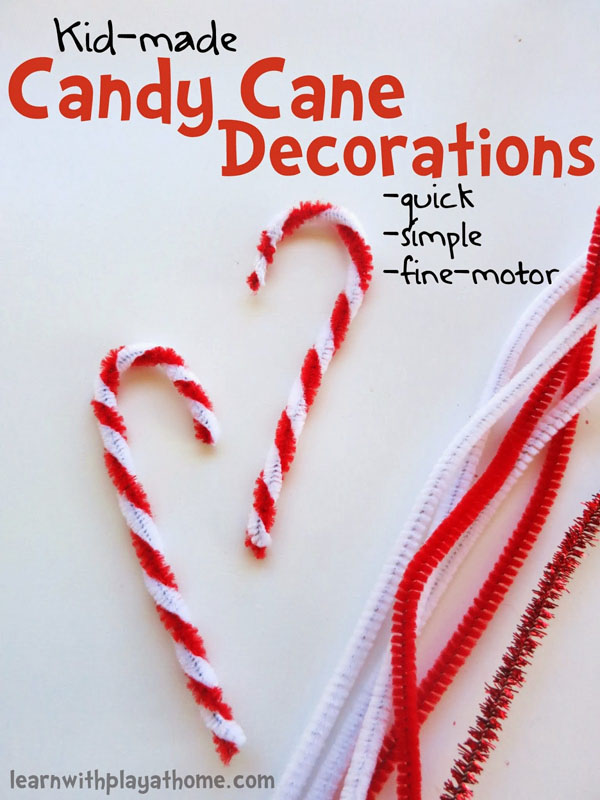 Kid-Made Candy Cane Decorations |Featured with 33+ Handmade Christmas Ornaments to Make with Your Kids! {OneCreativeMommy.com}