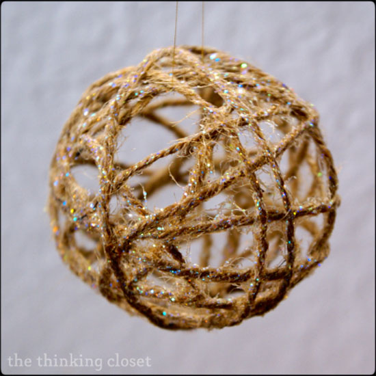 Glitter Twine Ball Ornament |Featured with 33+ Handmade Christmas Ornaments to Make with Your Kids! {OneCreativeMommy.com}
