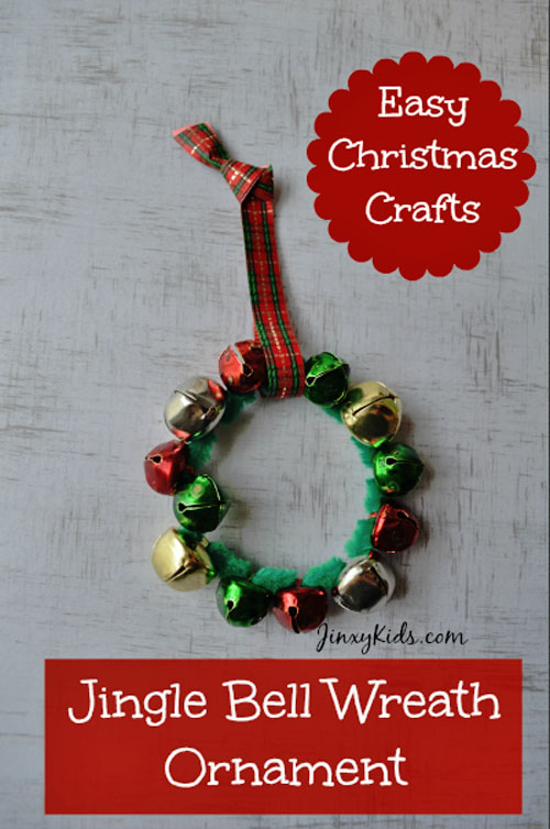 Jingle Bell Wreath Craft |Featured with 33+ Handmade Christmas Ornaments to Make with Your Kids! {OneCreativeMommy.com}