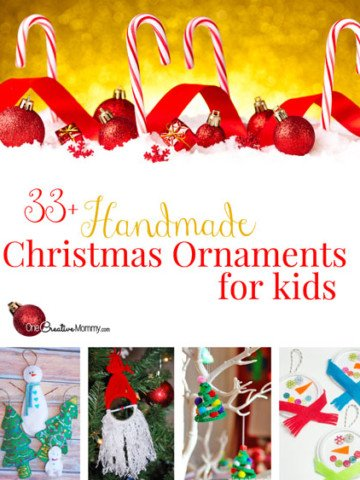 Keep the kids busy over the holiday break with 33+ Handmade Christmas Ornaments that are perfect for kids! {OneCreativeMommy.com} Tons of kids craft ideas!