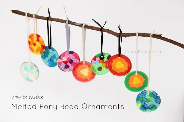Melted Pony Bead Ornaments |Featured with 33+ Handmade Christmas Ornaments to Make with Your Kids! {OneCreativeMommy.com}