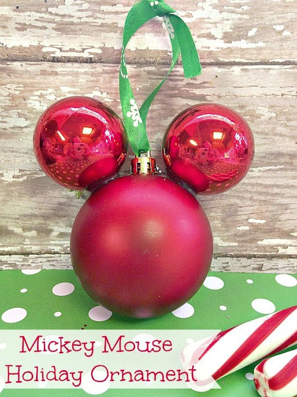 Mickey Mouse Ornament Craft |Featured with 33+ Handmade Christmas Ornaments to Make with Your Kids! {OneCreativeMommy.com}