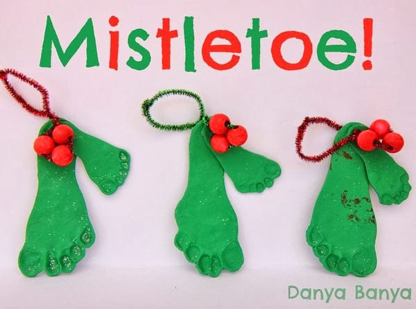 mistletoes footprint ornaments featured with 33 handmade christmas ornaments to make with your kids - Christmas Decoration Crafts