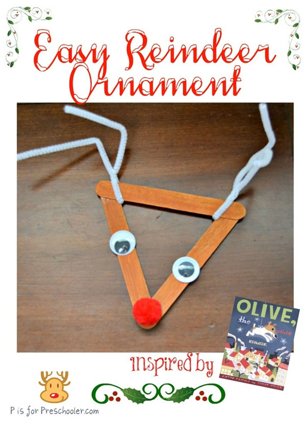 Olive the Other Reindeer Ornament |Featured with 33+ Handmade Christmas Ornaments to Make with Your Kids! {OneCreativeMommy.com}
