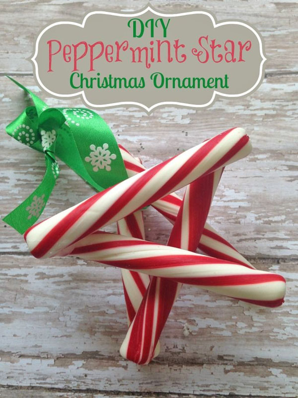 Peppermint Star |Featured with 33+ Handmade Christmas Ornaments to Make with Your Kids! {OneCreativeMommy.com}