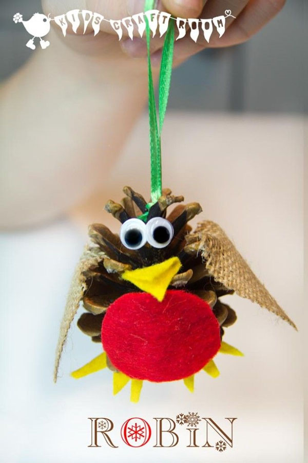 Pinecone Robin Craft |Featured with 33+ Handmade Christmas Ornaments to Make with Your Kids! {OneCreativeMommy.com}