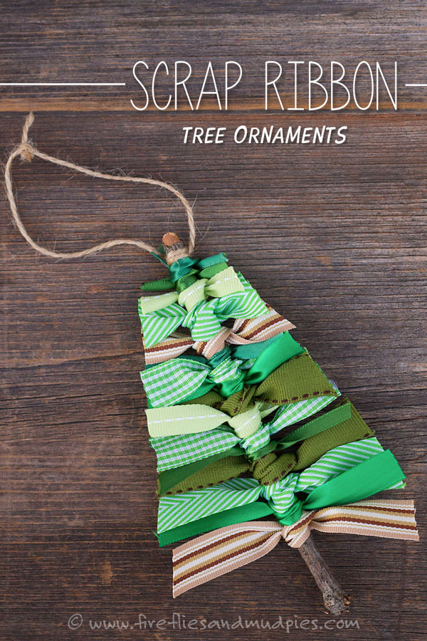 Scrap Ribbon Trees |Featured with 33+ Handmade Christmas Ornaments to Make with Your Kids! {OneCreativeMommy.com}
