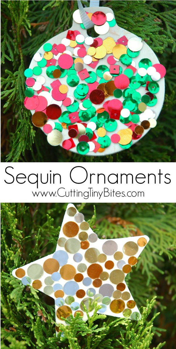 Cute Sequin Ornaments |Featured with 33+ Handmade Christmas Ornaments to Make with Your Kids! {OneCreativeMommy.com}