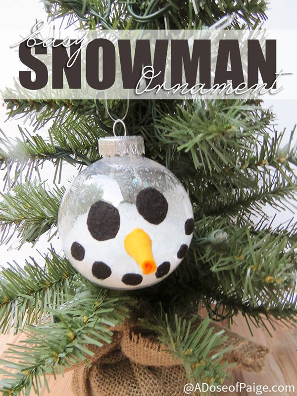 Easy Snowman Ornament |Featured with 33+ Handmade Christmas Ornaments to Make with Your Kids! {OneCreativeMommy.com}