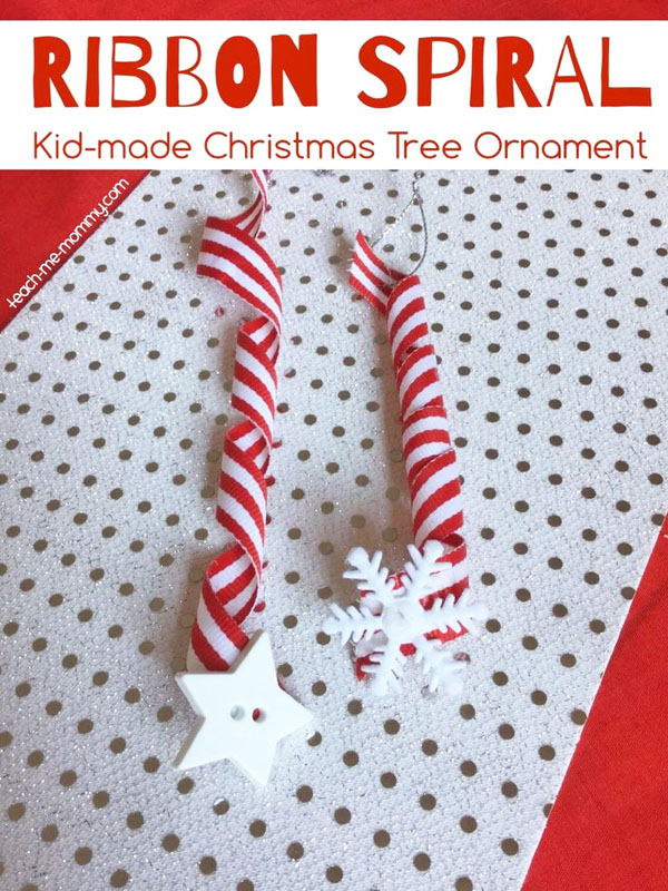 Ribbon Spiral Kid Craft Ornament |Featured with 33+ Handmade Christmas Ornaments to Make with Your Kids! {OneCreativeMommy.com}