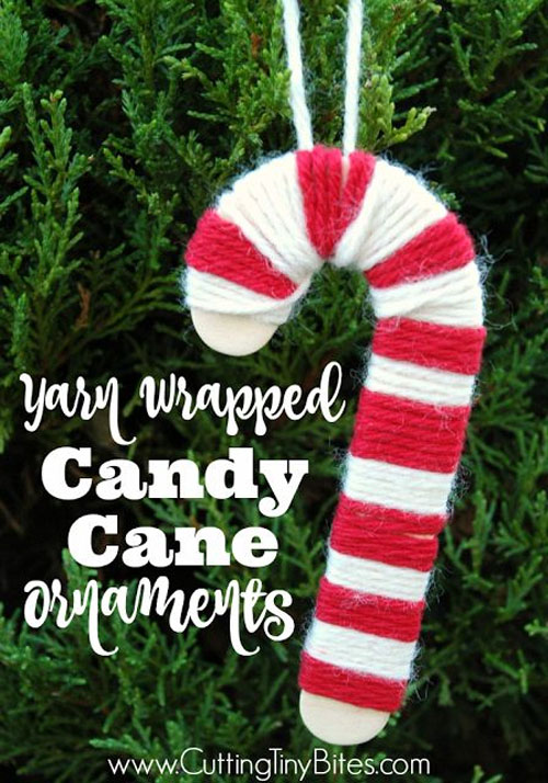 Yarn-Wrapped Candy Cane Ornament |Featured with 33+ Handmade Christmas Ornaments to Make with Your Kids! {OneCreativeMommy.com}