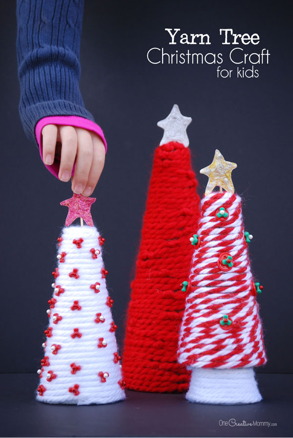 Yarn Tree Christmas Craft for Kids - onecreativemommy.com
