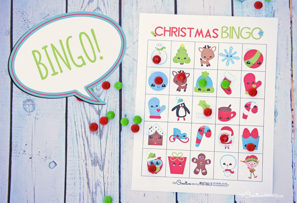 Free Christmas Bingo Cards! Perfect for a class party or family game night {OneCreativeMommy.com}