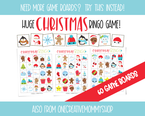 Huge Christmas Bingo Game - 60 Game Boards {OneCreativeMommy.com} Available on Etsy