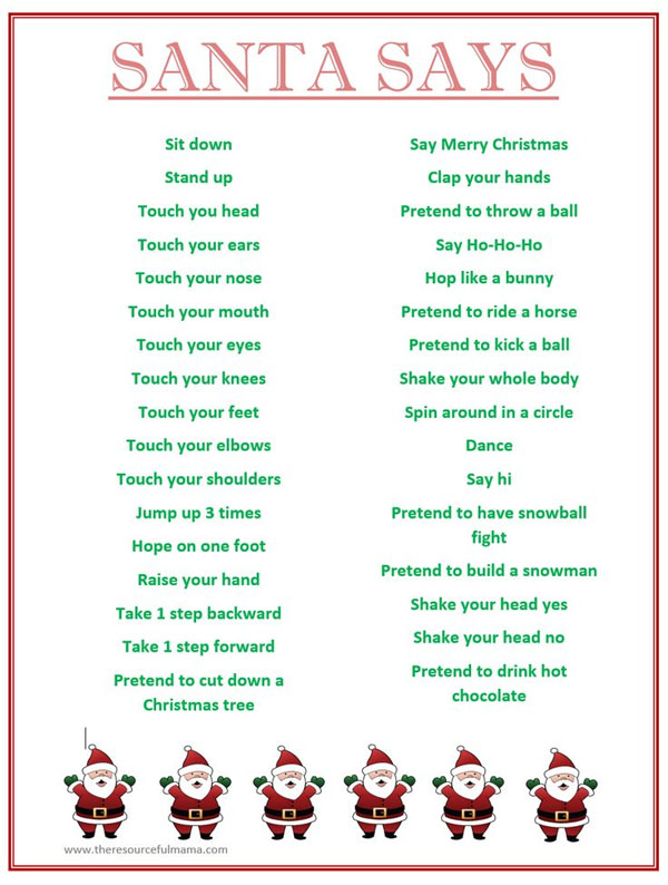 Santa Says Party Game | Featured with 29 Awesome Classroom Christmas Party Ideas {OneCreativeMommy.com}