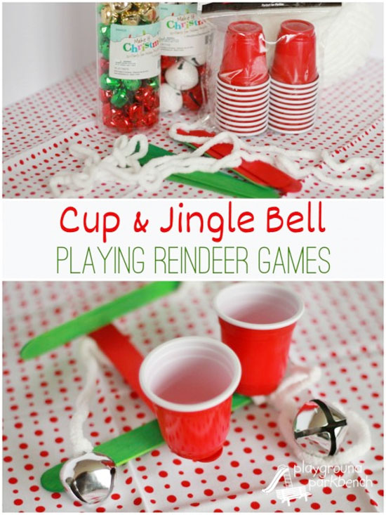 Cup and Jingle Bell Party Game and Craft | Featured with 29 Awesome Classroom Christmas Party Ideas {OneCreativeMommy.com}