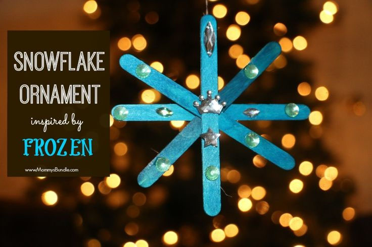 Frozen-Inspired Snowflake Ornament Kids Craft | Featured with 29 Awesome Classroom Christmas Party Ideas {OneCreativeMommy.com}