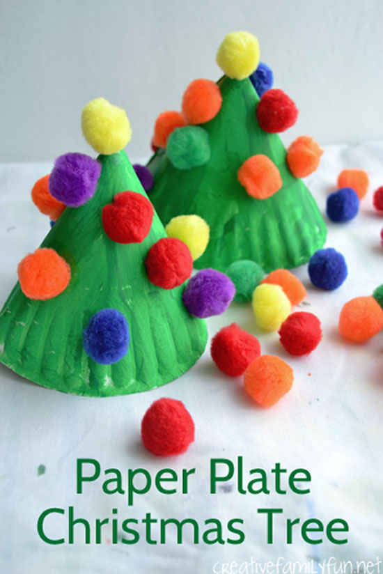 Cute Paper Plate Christmas Trees Craft | Featured with 29 Awesome Classroom Christmas Party Ideas {OneCreativeMommy.com}
