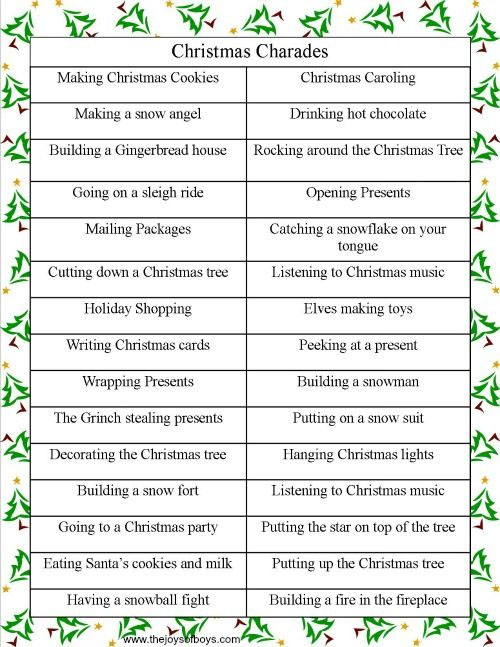 Christmas Charades Party Game Free Printable| Featured with 29 Awesome Classroom Christmas Party Ideas {OneCreativeMommy.com}