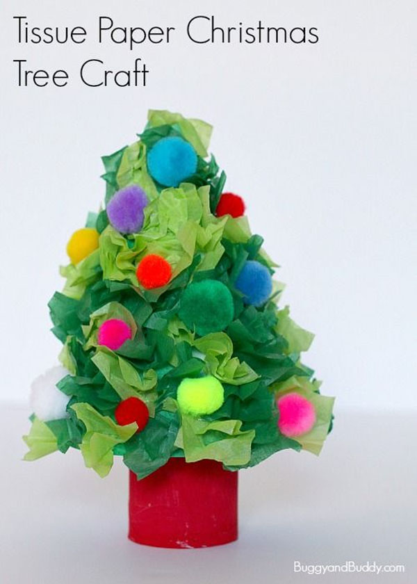 Cute Tissue Paper Christmas Trees Craft for Kids | Featured with 29 Awesome Classroom Christmas Party Ideas {OneCreativeMommy.com}