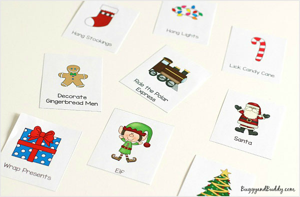 Winter Charades Party Game Idea and Printable | Featured with 29 Awesome Classroom Christmas Party Ideas {OneCreativeMommy.com}