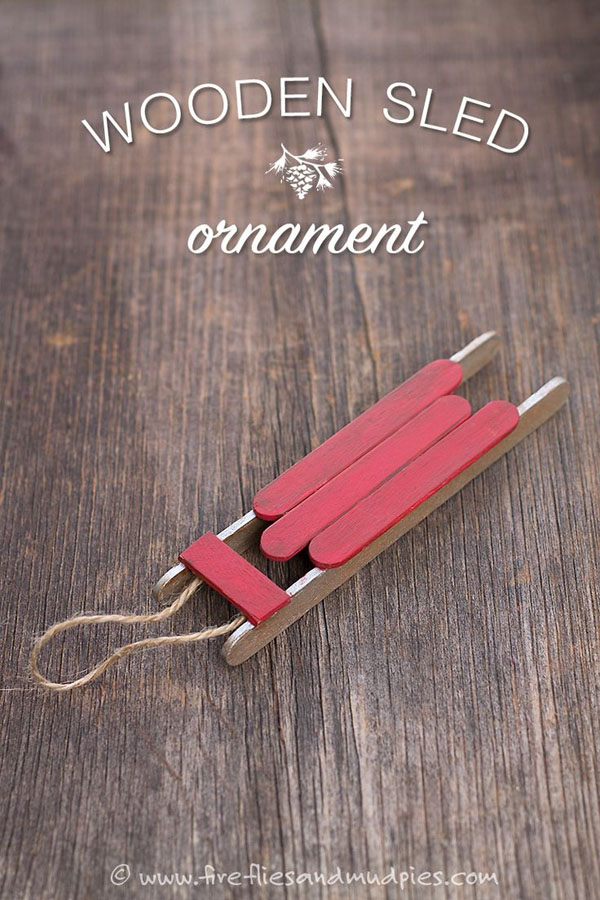 Cool Wooden Sled Ornament Kids Craft | Featured with 29 Awesome Classroom Christmas Party Ideas {OneCreativeMommy.com}