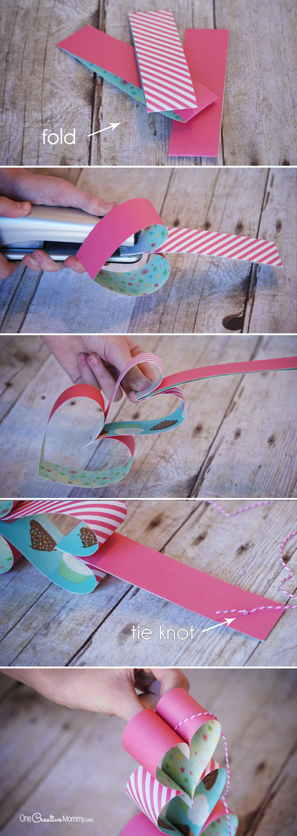 Heart Paper Chain Valentine Craft {OneCreativeMommy.com} Steps