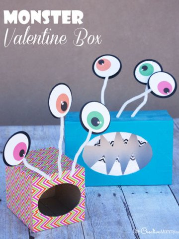 Check out these super fun and easy Monster Valentine Boxes! Can you tell what they are made out of? {OneCreativeMommy.com} Such a cute Valentine's day craft idea. Free printable eyeballs with Silhouette cutting file, too.