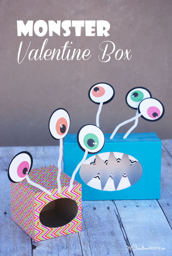 Valentine Box Ideas Big Eyed Monsters Onecreativemommy Com