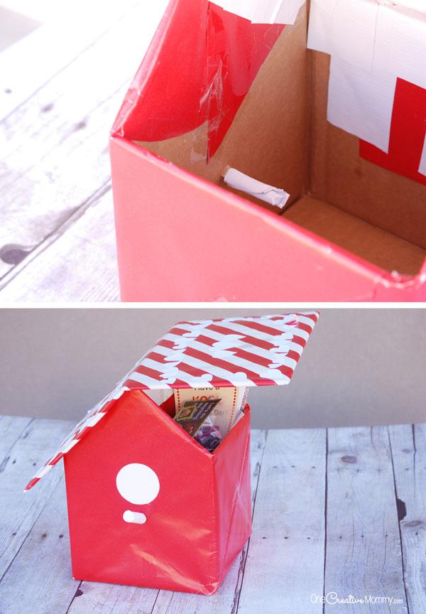 Birdhouse Valentine Box Idea {OneCreativeMommy.com}