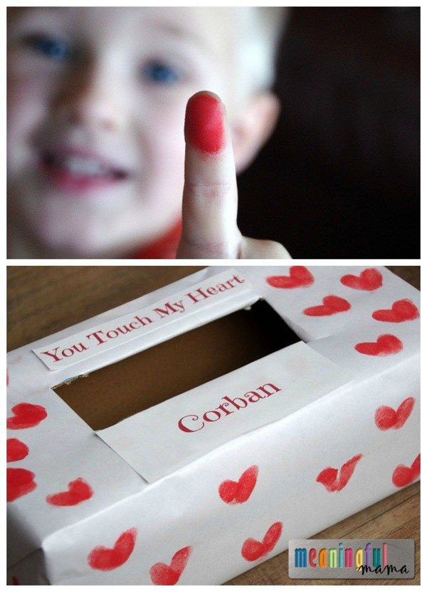Fingerprint Valentine Box | Featured with 25 Awesome Valentine Box Ideas to Rock the Class Party! {OneCreativeMommy.com}