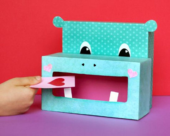 Hippo Valentine Box | Featured with 25 Awesome Valentine Box Ideas to Rock the Class Party! {OneCreativeMommy.com}
