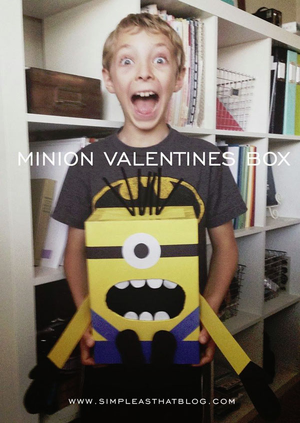 Minion Valentine Box | Featured with 25 Awesome Valentine Box Ideas to Rock the Class Party! {OneCreativeMommy.com}