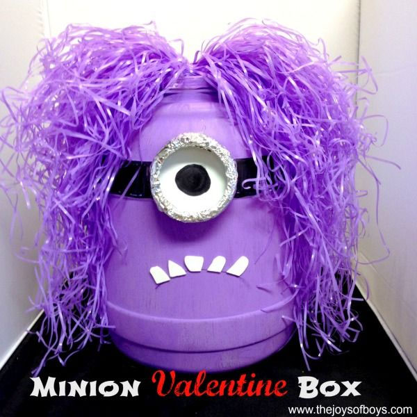 Evil Minion Valentine Box | Featured with 25 Awesome Valentine Box Ideas to Rock the Class Party! {OneCreativeMommy.com}
