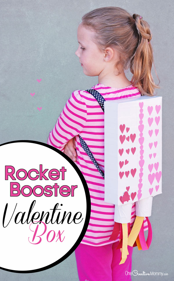 Looking for cute Valentine Box ideas? This adorable Rocket Booster Valentine Box was the hit of the class party. {OneCreativeMommy.com}