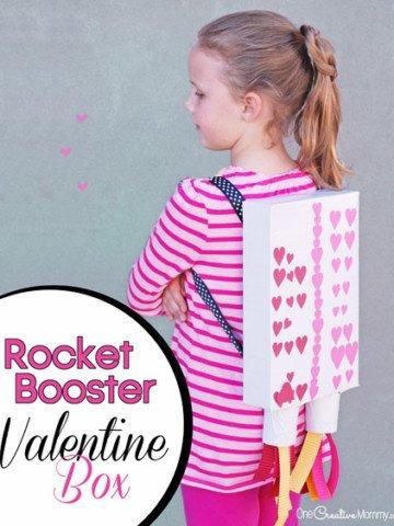 Love this Rocket Booster Valentine Box Idea! {OneCreativeMommy.com}