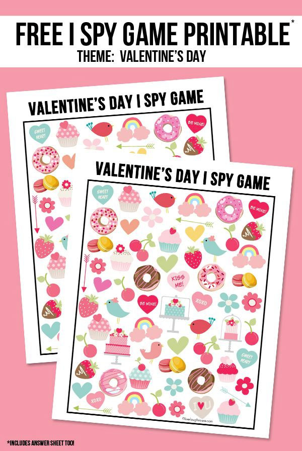 Valentine's Day I Spy Game Printable | Featured in 25+ Awesome Valentine Class Party Ideas Roundup {OneCreativeMommy.com}