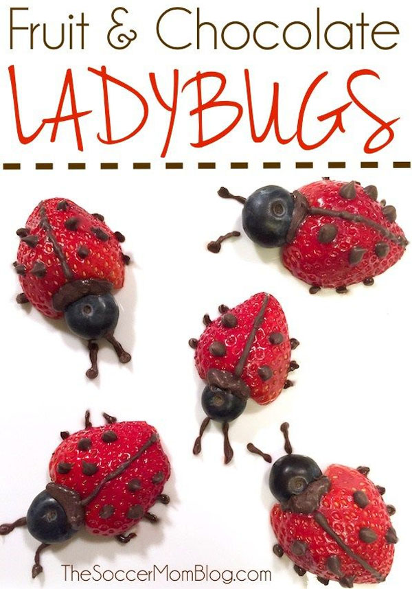 Fruit and Chocolate Ladybugs Treat | Featured in 25+ Awesome Valentine Class Party Ideas Roundup {OneCreativeMommy.com}